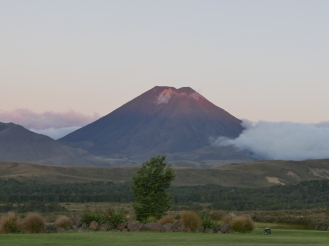 Mt Doom at sunset, as I was eating my supper